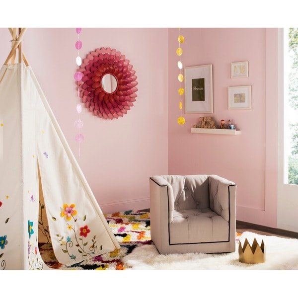 Safavieh Kids Little Decorator Taupe and Black Childrens Club Chair
