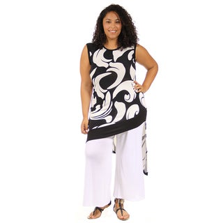 24/7 Comfort Apparel Women's Plus Size Abstract Wave Slant Hem Tunic
