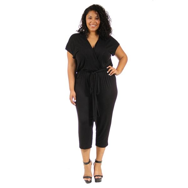 24/7 Comfort Apparel Women's Plus-Size Short Sleeve Front-Tie Jumpsuit