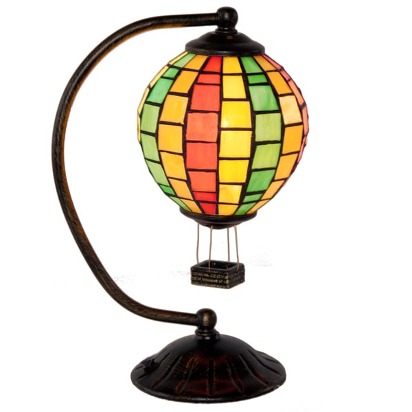 River of Goods 12-inch High Stained Glass Hot Air Balloon Accent Lamp