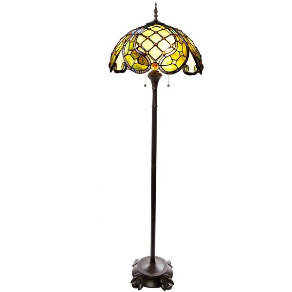 River of Goods 66-inch High Stained Glass Baroque Harlequin Floor Lamp