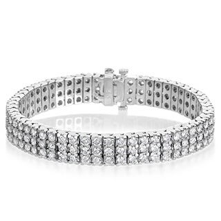 SummerRose 14k White Gold 10ct TDW Diamond 3-row Tennis Bracelet
