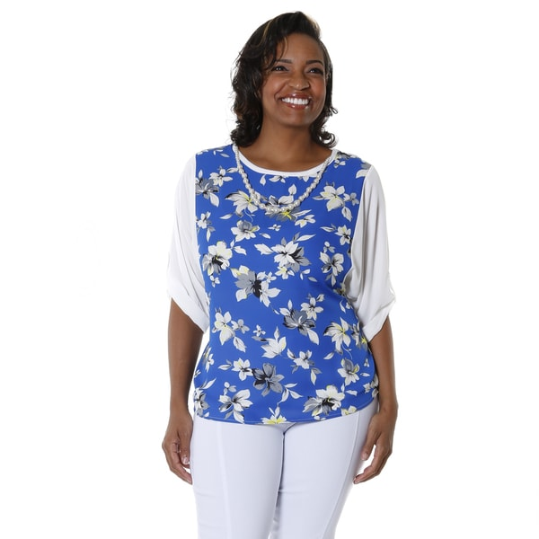Hadari Women's Plus Floral Scoop Neck Blouse