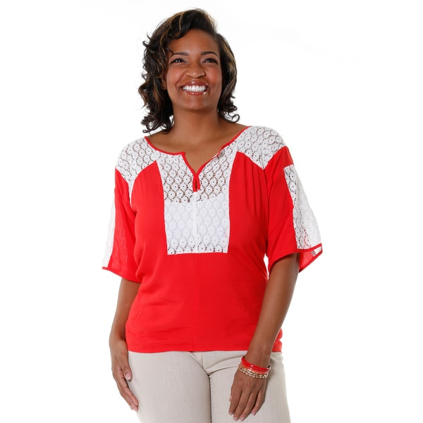 Hadari Women's Plus Size Casual Crochet Panel Blouse