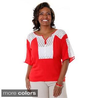 Hadari Women's Plus Size Casual Crochet Panel Blouse
