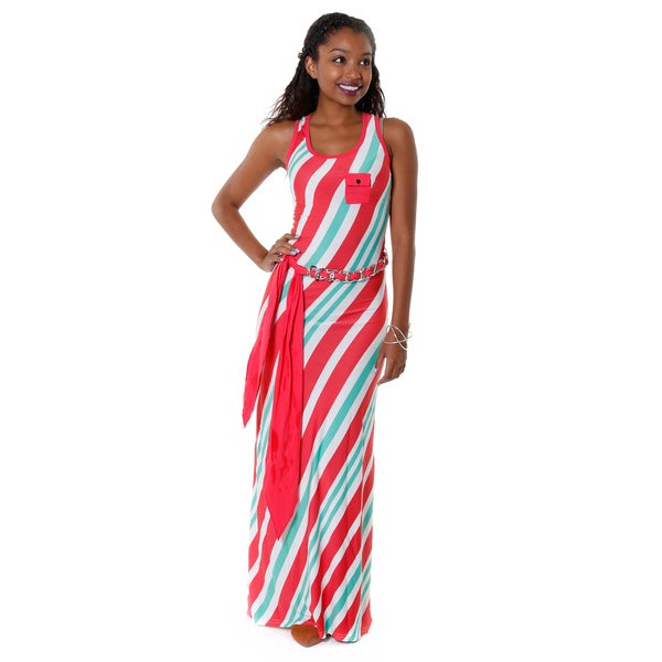 Hadari Women's Red Sleeveless Striped Maxi Dress
