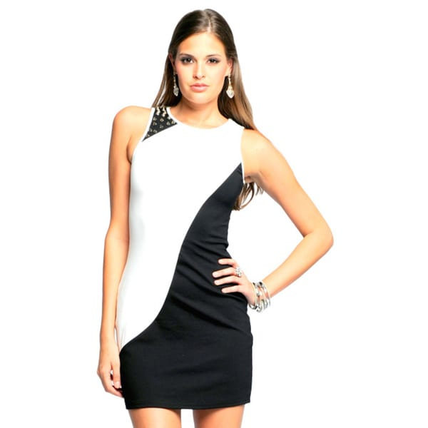 Sara Boo Black/ White Sleeveless Dress (Small)