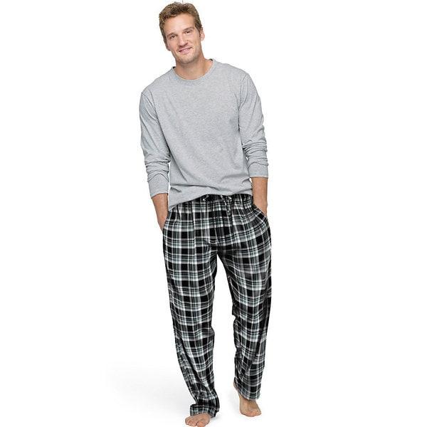 Hanes Men's Jersey Flannel Sleep Set