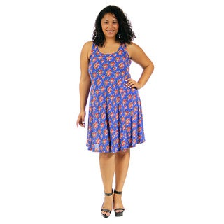 24/7 Comfort Apparel Women's Plus Size Classic Floral Printed Tank Dress