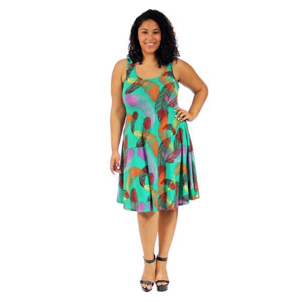 24/7 Comfort Apparel Women's Plus Size Feather Print Sleeveless Tank Dress