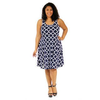 24/7 Comfort Apparel Women's Plus Size Classic Floral Tank Dress
