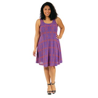 24/7 Comfort Apparel Women's Plus Size Abstract Blue and Orange Printed Tank Dress