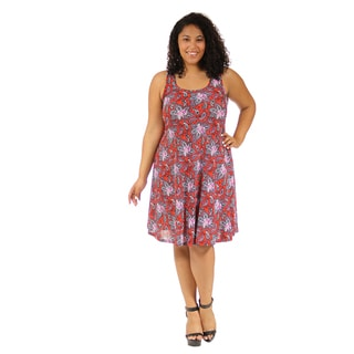 24/7 Comfort Apparel Women's Plus Size Red Paisley Printed Tank Dress