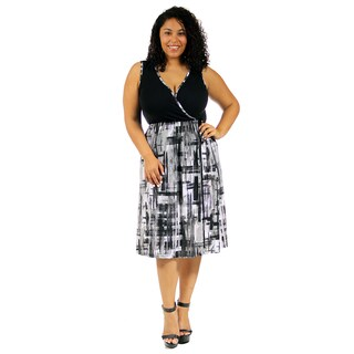 24/7 Comfort Apparel Women's Plus Size Fold-Over Brush Stroke Dress
