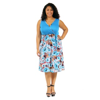 24/7 Comfort Apparel Women's Plus Size Turquoise Floral Printed Dress