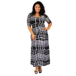 24/7 Comfort Apparel Women's Plus-size Abstract Printed 3/4 Sleeve Maxi Dress