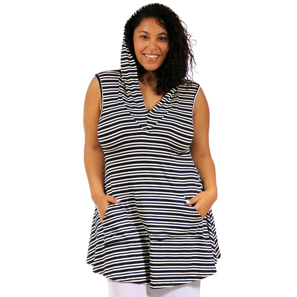 24/7 Comfort Apparel Plus Size Black and White Stripe Printed Tunic