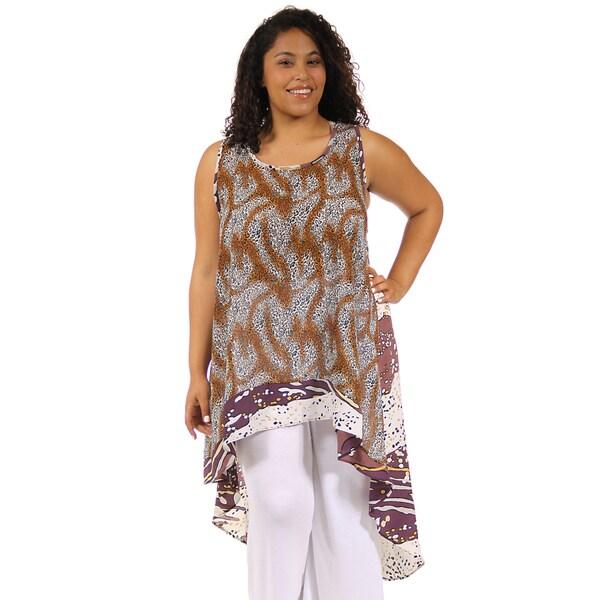 24/7 Comfort Apparel Women's Abstract Cheetah Print Plus Size Racerback Tunic