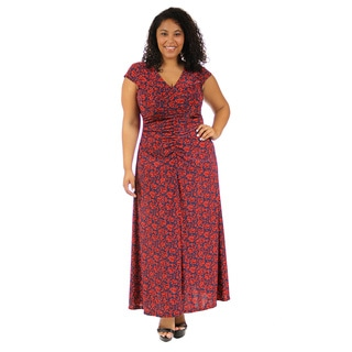 24/7 Comfort Apparel Women's Vibrant Floral Print Maxi Dress