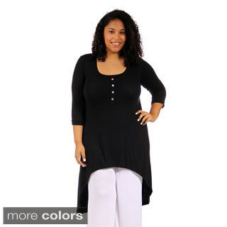 24/7 Comfort Apparel Women's Plus Size 3/4 Sleeve Extra-Long Tunic