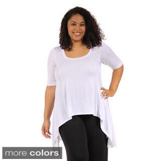 24/7 Comfort Apparel Women's Plus Size Extra Long Tunic Top