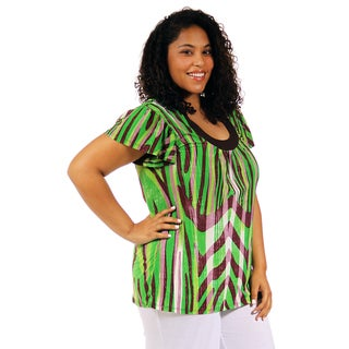 24/7 Comfort Apparel Women's Plus Size Multi-Color Wave Print Scoop Neck Tunic
