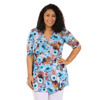24/7 Comfort Apparel Women's Plus Size Abstract Floral Henley Tunic