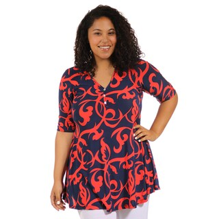 24/7 Comfort Apparel Women's Plus Size Abstract Red and Navy Tunic