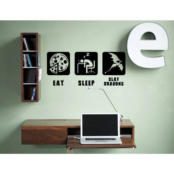 Eat Sleep Slay Dragons Sticker Vinyl Wall Art