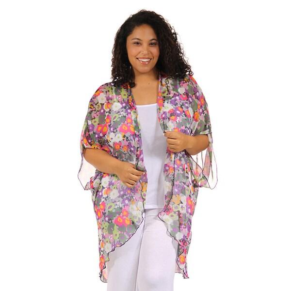24/7 Comfort Apparel Women's Plus Size Vibrant Classic Layering Shrug