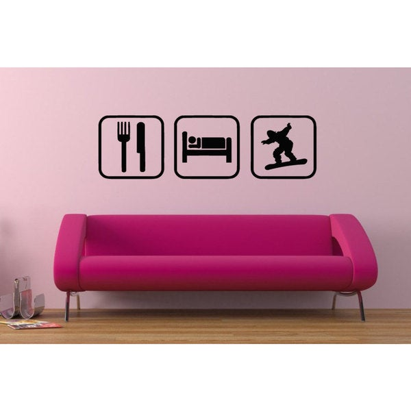 Eat Sleep Snowboarding Sticker Vinyl Wall Art