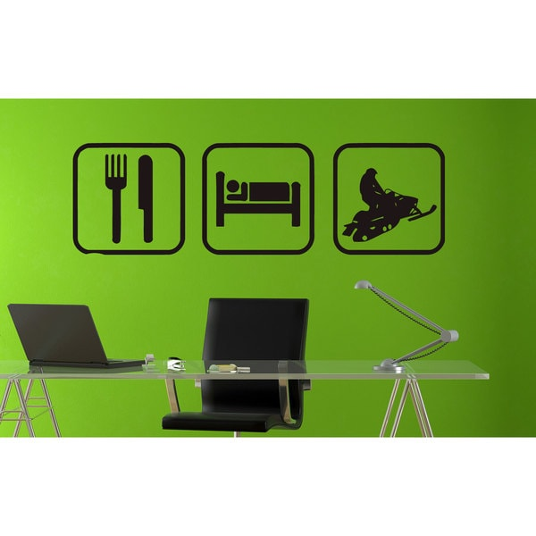 Eat Sleep Sled Snowmobiling Sticker Vinyl Wall Art