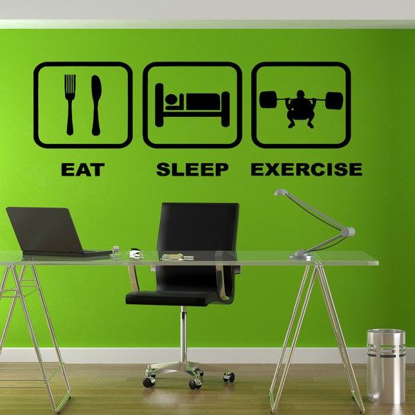 Eat Sleep Exercise Sticker Vinyl Wall Art