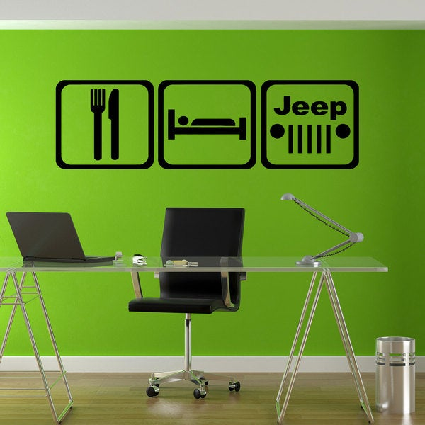 Eat Sleep Jeep Sticker Vinyl Wall Art