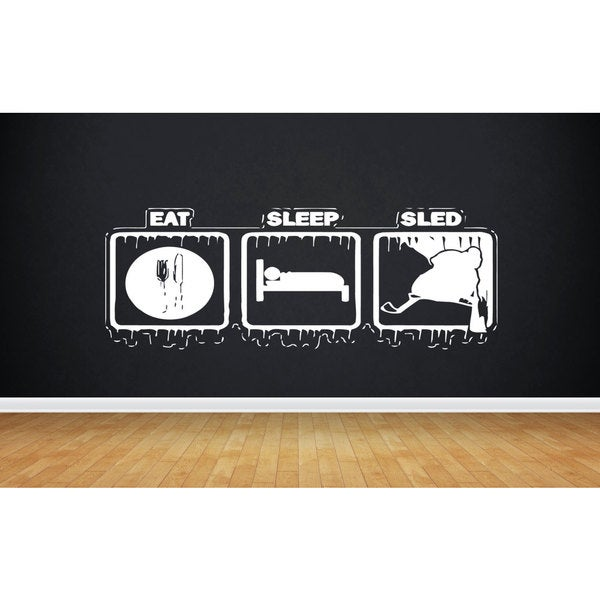 Eat Sleep Sled Snowmobile Sticker Vinyl Wall Art