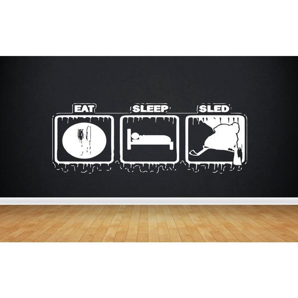Eat Sleep Sled Snowmobile Sticker Vinyl Wall Art