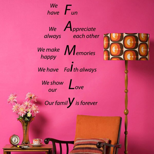 Family Forever Quote Sticker Vinyl Wall Art