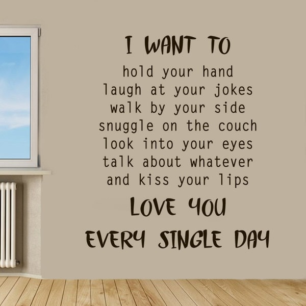 Love You Every Single Day Kiss Your Lips Quote Sticker Wall Decal