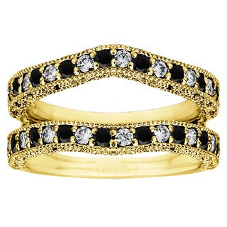 Yellow Plated Sterling Silver Black and White Cubic Zirconia Vintage Ring Guard