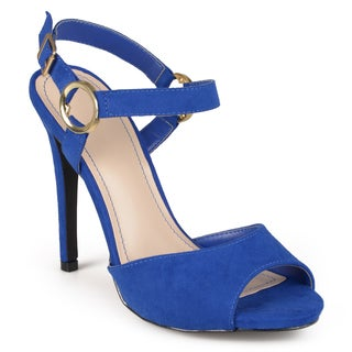 Journee Collection Women's 'Saffron' Open Toe Ankle Strap Heels