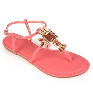 Journee Collection Women's 'Mums' Jeweled T-strap Sandals