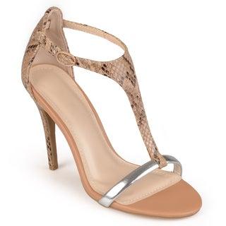 Journee Collection Women's 'Jonquil' Open Toe T-strap Heels