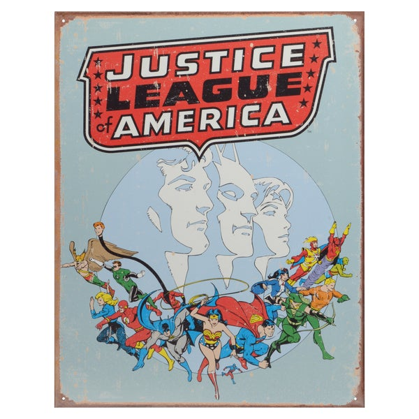 Vintage Metal Art Decorative 'Justice League Retro' Tin Sign 15088856