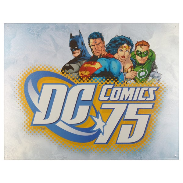 Vintage Metal Art Decorative 'DC Comics 75th Anniversary' Tin Sign