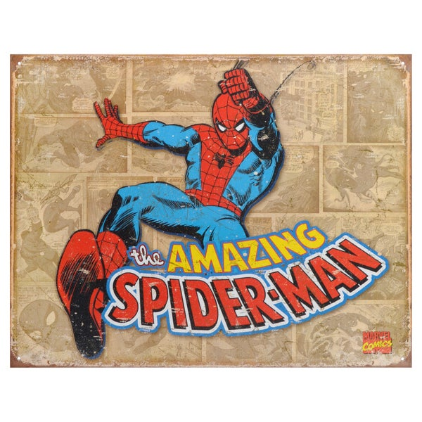 Vintage Metal Art Decorative 'Spider-Man Retro Panels' Tin Sign 15088861