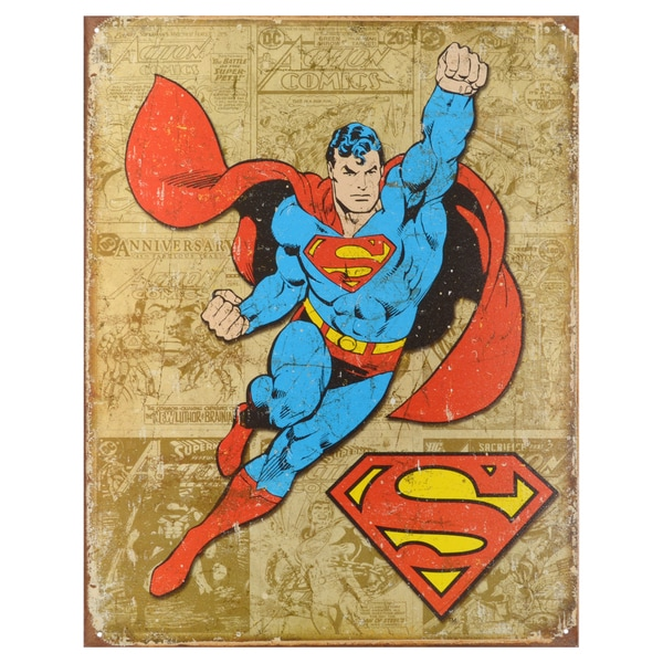 Vintage Metal Art Decorative 'Superman Weathered Panels' Tin Sign 15088863