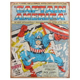 Vintage Metal Art Decorative 'Captain America Comic Cover' Tin Sign