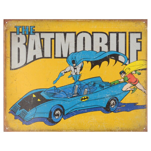 Vintage Metal Art Decorative 'The Batmobile' Tin Sign 15088872