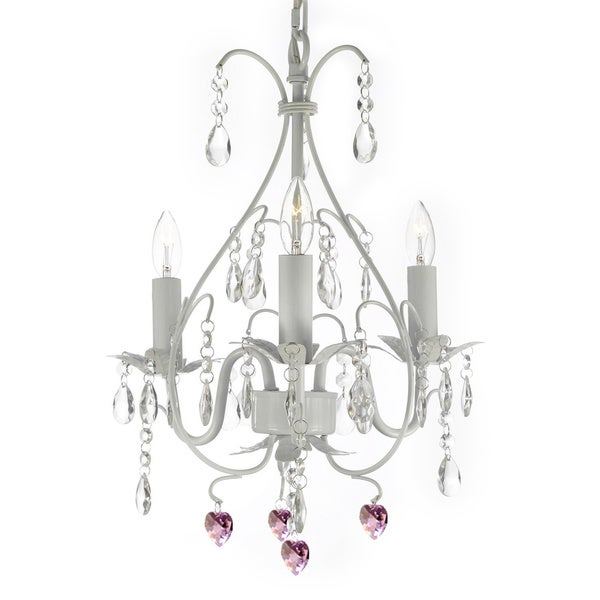 Versailles Wrought Iron and Crystal 3 Light Swag Plug In White Chandelier with Pink Crystal Hearts