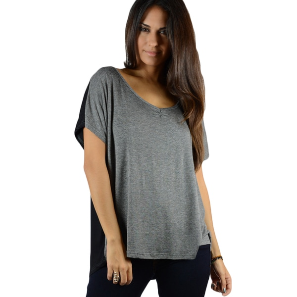 Concept Women's Ruched V-neck Colorblock T-shirt